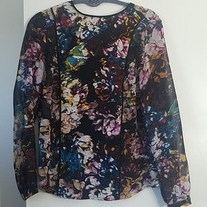 WhoWhatWear Floral Back Button Blouse